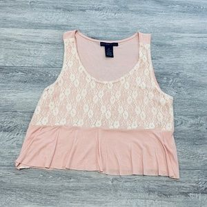 Design History Pink with Lace Trim Crop Tank Top